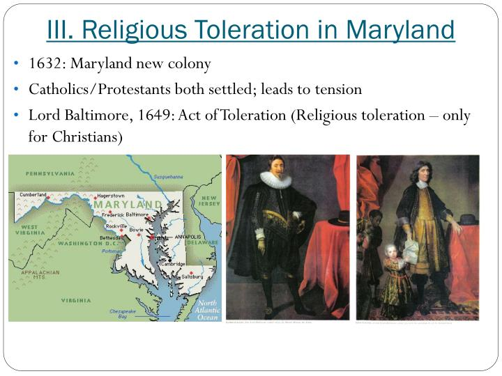 III. Religious Toleration in Maryland