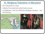 iii religious toleration in maryland