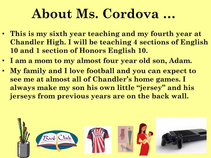 About Ms. Cordova …