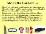 about ms cordova