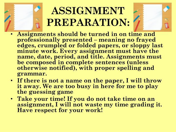 ASSIGNMENT PREPARATION: