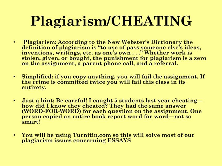 Plagiarism/CHEATING