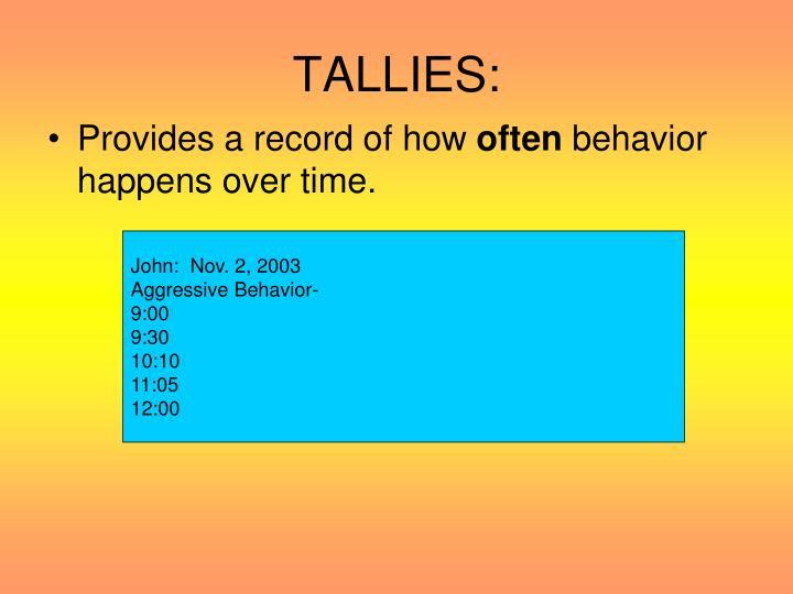 TALLIES: