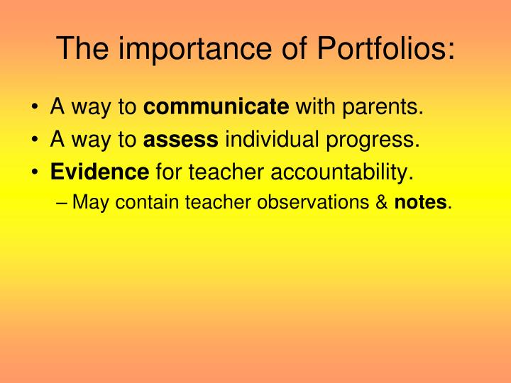 The importance of Portfolios: