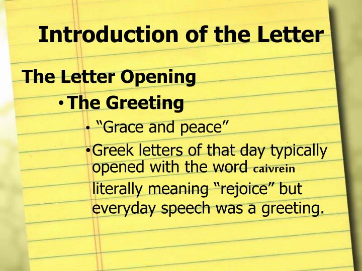 Introduction of the Letter
