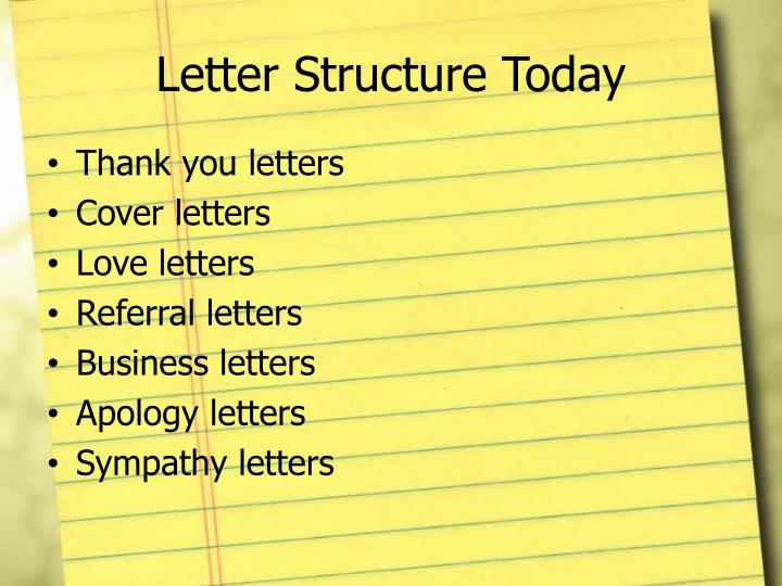 Letter structure today
