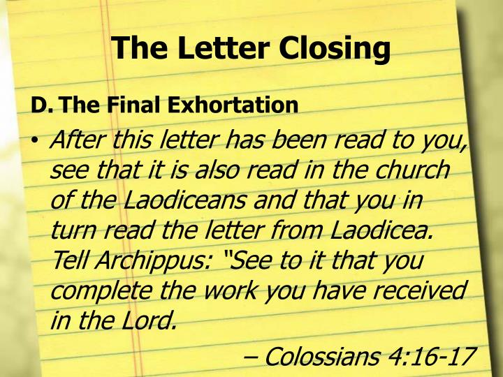 The Letter Closing