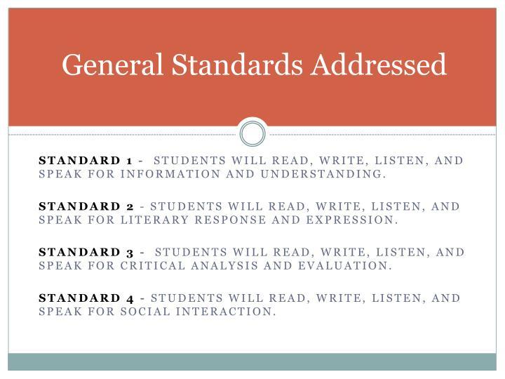 General Standards Addressed