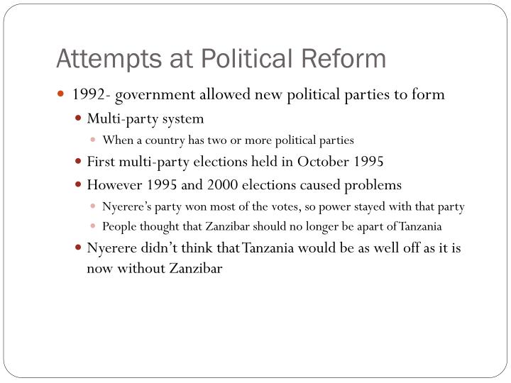 Attempts at Political Reform