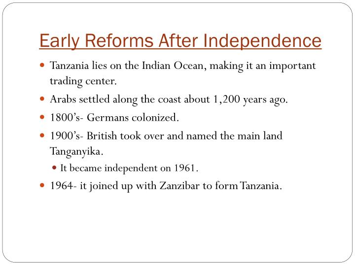 Early reforms after independence