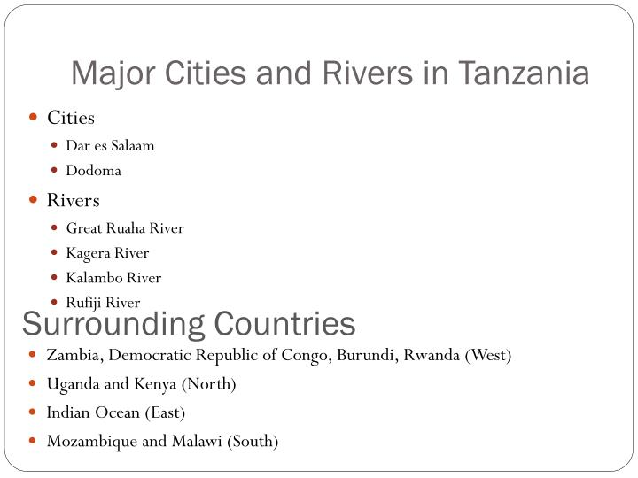 Major Cities and Rivers in Tanzania