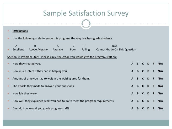 Sample Satisfaction Survey