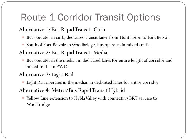 Route 1 Corridor Transit Options
