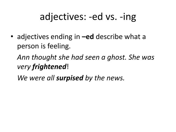 Adjectives ed vs ing