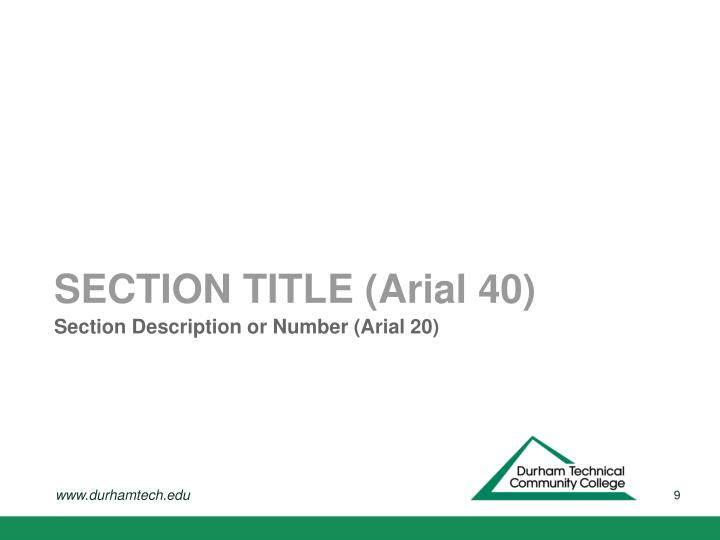 Section Description or Number (Arial 20)
