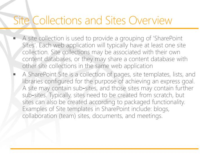 Site Collections and Sites Overview