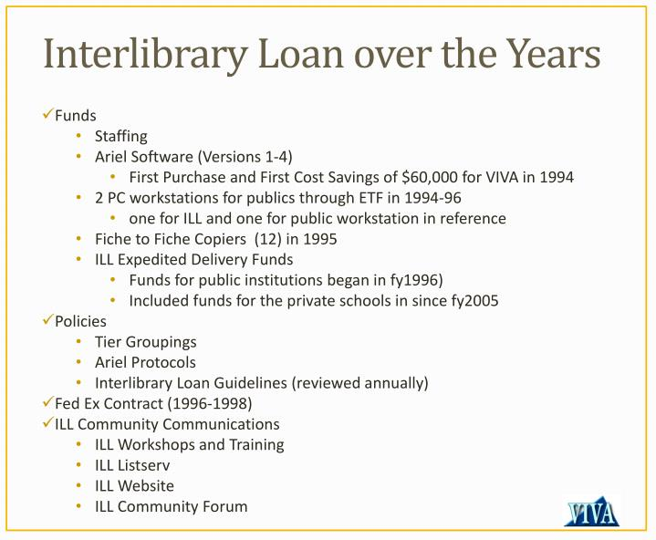 Interlibrary loan over the years