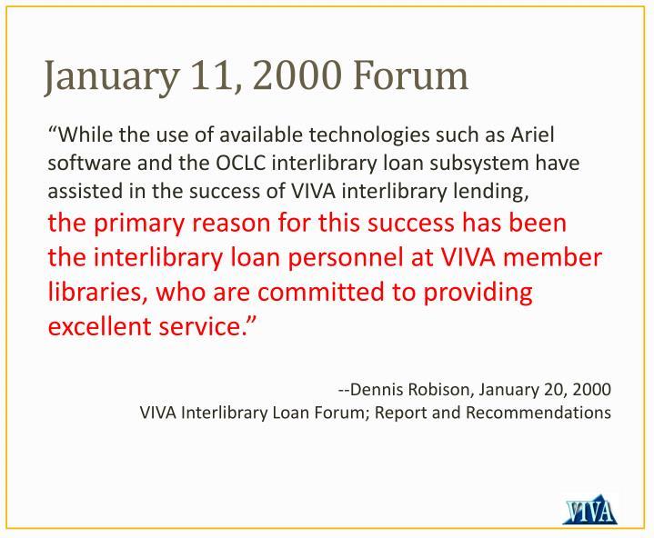 January 11, 2000 Forum
