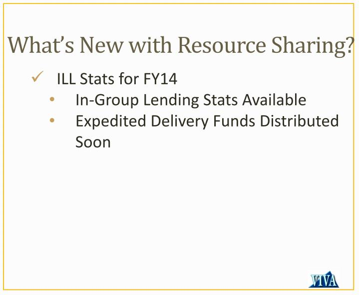 What's New with Resource Sharing?