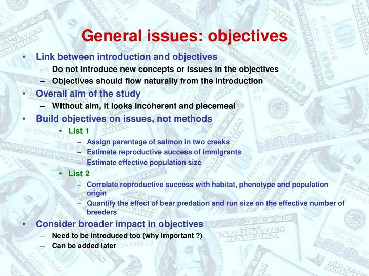 General issues objectives