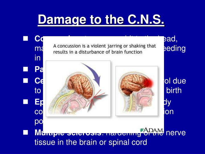 Damage to the C.N.S.