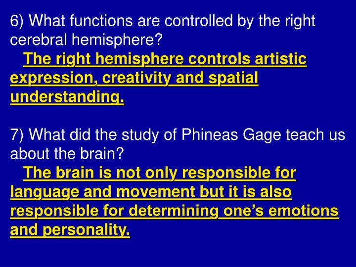 6) What functions are controlled by the right cerebral hemisphere?