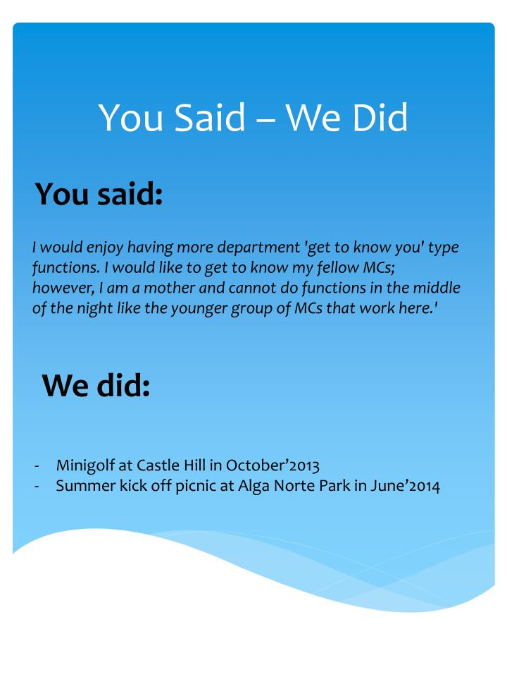 You Said – We Did