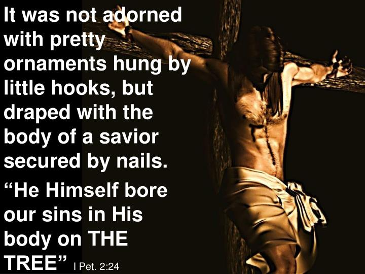It was not adorned with pretty ornaments hung by little hooks, but draped with the body of a savior secured by nails.