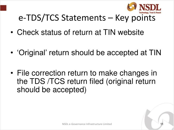 e-TDS/TCS Statements – Key points