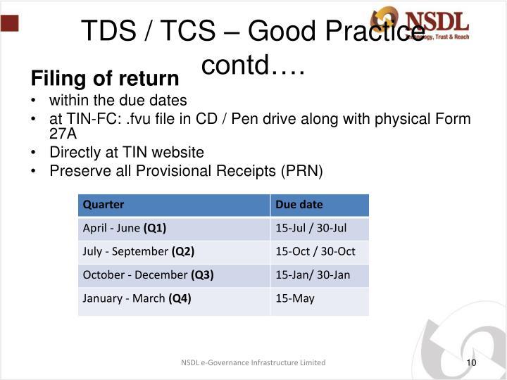 TDS / TCS – Good Practice contd….