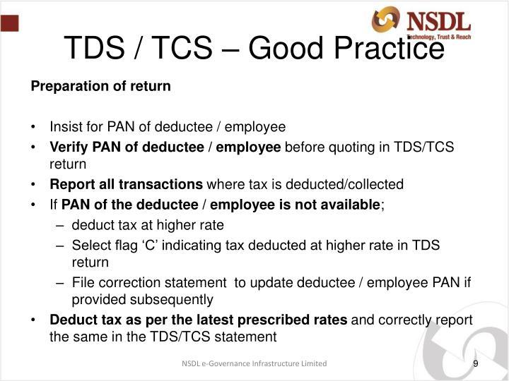TDS / TCS – Good Practice