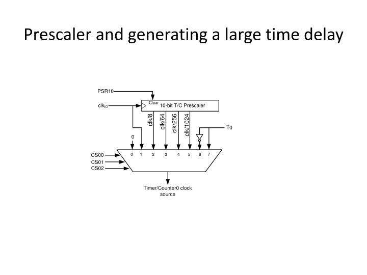 Prescaler and generating a large time delay