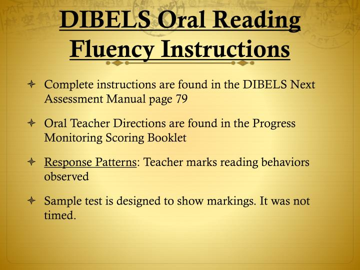 DIBELS Oral Reading Fluency Instructions