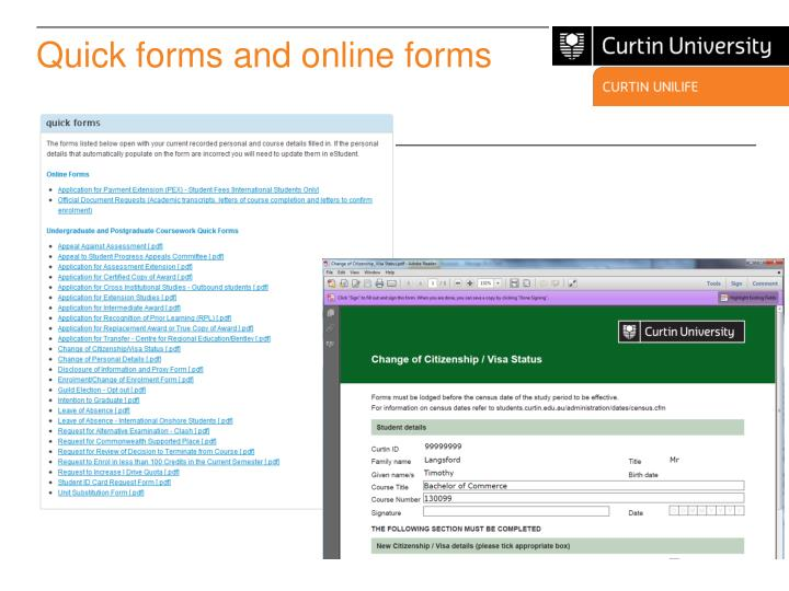 Quick forms and online forms