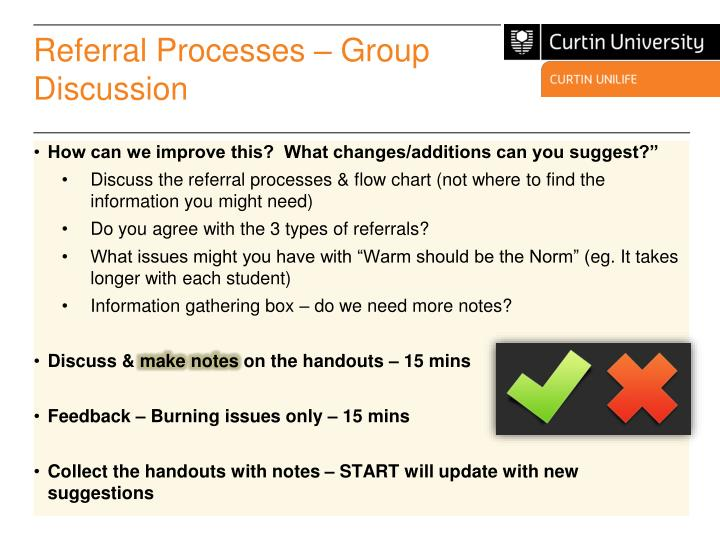 Referral Processes – Group Discussion