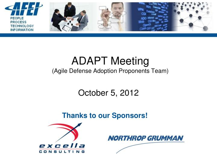 Adapt meeting agile defense adoption proponents team