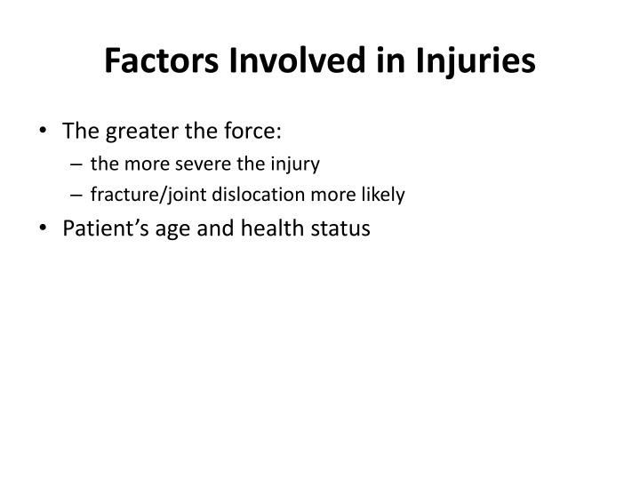 Factors Involved in Injuries