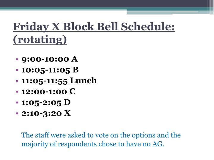 Friday x block bell schedule rotating