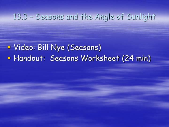 13.3 – Seasons and the Angle of Sunlight