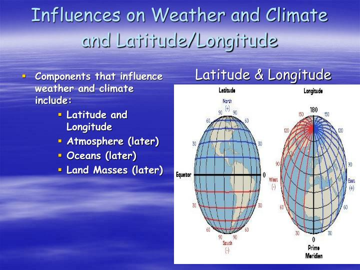 Components that influence weather and climate include: