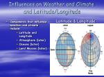 influences on weather and climate and latitude longitude