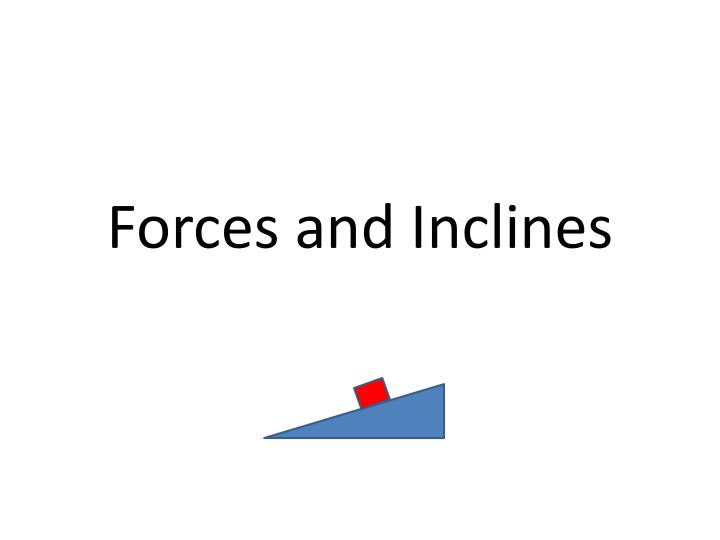 Forces and inclines