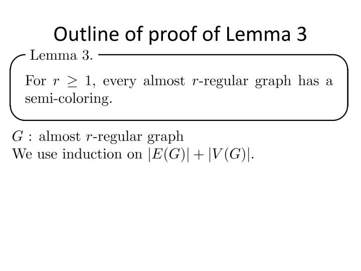 Outline of proof of Lemma 3