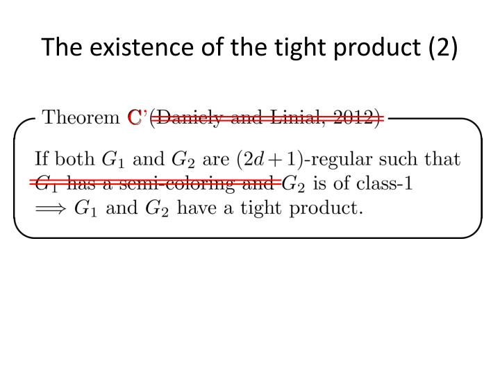 The existence of the tight product (2)