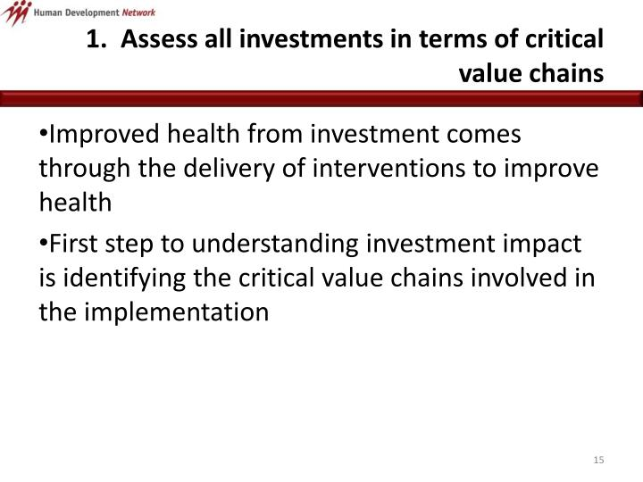 1.  Assess all investments in terms of critical value chains