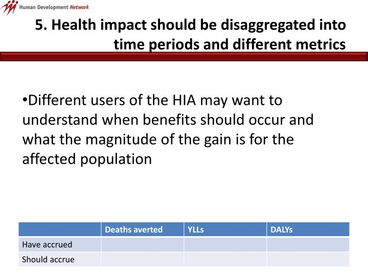 5. Health impact should be disaggregated into time periods and different metrics