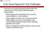 lives saved approach key challenges