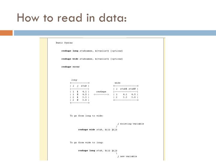 How to read in data: