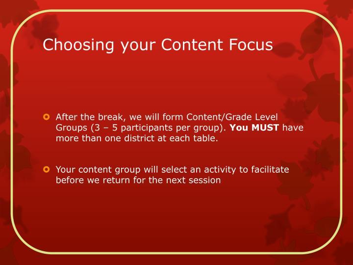 Choosing your Content Focus