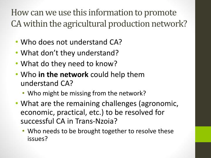 How can we use this information to promote CA within the agricultural production network?